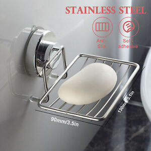 Stainless Soap Dish Basket Wall Mounted Suction Holder Bathroom Tray Accessory