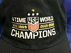 USA Womens Soccer FOUR TIME WORLD CHAMPIONS Navy Blue Hat Cap 47 Brand NWT