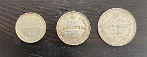 Russian Lot 3 coins 1913 10 Kopeks 1914 15 Kopeks 1909 20 Kopeks Russian Silver