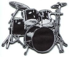 DRUMSET black drum kit EMBROIDERED IRON-ON PATCH **Free Shipping** set of drums