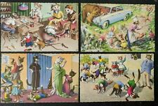 1960s Humerous Cat Postcards - Alfred Mainzer - Lot of 4 Cards
