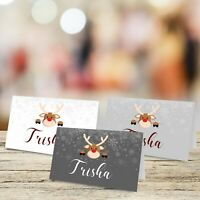 Personalised Christmas Theme Table Place Name Cards for Conference & Party