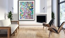 """Chris Riggs 60""""x48"""" NYC abstract painting huge art blue gold pink white modern"""