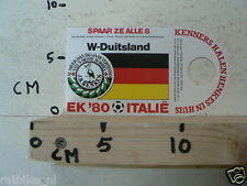 STICKER,DECAL EK 80 ITALIE VOETBAL,SOCCER JH HENKES,W-DUITSLAND, WEST GERMANY
