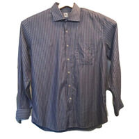 Peter Millar Mens Button Up Shirt Purple Stripe Long Sleeve All Cotton Large