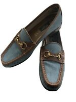 Gucci Denim Canvas Brown Leather Horsebit Loafers Flats Shoes 37