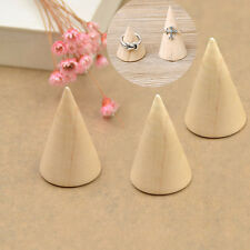 2pcs Jewellery Wooden Cone Display Stand Ring Organizer Case Showing Stand Hot