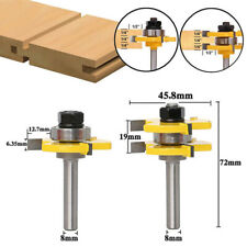 2Pcs 8mm Shank 3 Teeth Groove Router Bit Milling Cutter For Woodworking Tools