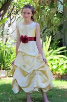 Gold Flower Girl Dress Holiday Easter Pageant Junior Dress Kids Sizes 2-16 years