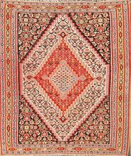 Antique Vegetable Dye Kilim Bidjar Senneh Area Rug Geometric Hand-Woven 4'x4'