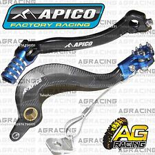Apico Black Blue Rear Brake & Gear Pedal Lever For Yamaha YZ 450F 2014 Motocross