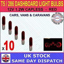 286 T5 INDICATOR DASH LIGHT CAR BULBS, MINIATURE / CAPLESS - RED 12V 1.2W x 10