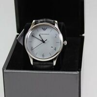NEW AUTHENTIC EMPORIO ARMANI BETA CLASSIC SILVER GREY LEATHER MEN'S AR1880 WATCH