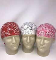 Lot of 3 White Pink Red Paisley Doo Rag Headwrap Biker Cotton Durag Cap Bandanna