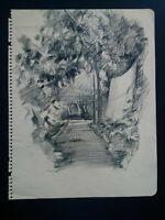 Beau dessin fusain années 30 étude jardin bel état
