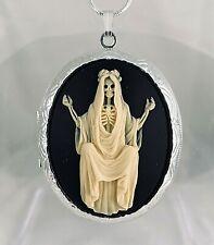 SANTA MUERTE CAMEO LOCKET Necklace ANGEL OF NIGHT & DEATH 925 Silver pltd Chain