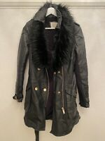 BLACK GOLD LEATHER JACKET FUR BELT ZIPS  RIVER ISLAND 10 TOWIE BOHO SMART CELEB