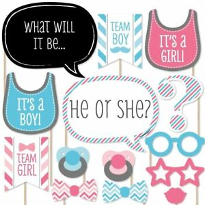 20 X  Gender Reveal Baby Shower Photo Booth Props Girl Boy Birthday Party Kit
