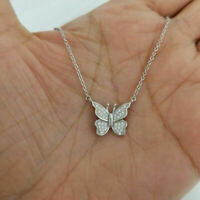 14k White Gold Finish 0.50 Ct Round Cut Diamond Butterfly Pendant Necklace