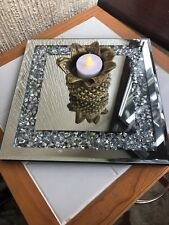 25CM JEWELED DIAMANTE MIRRORED CANDLE PLATE BLING WEDDING TABLE MIRROR SQUARE