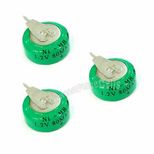 3 pcs Ni-MH 80mAh 1.2V button Rechargeable Battery backup power with tab