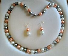 """Charming 8MM Multicolor Akoya Shell Pearl Necklace AAA+Earring 18""""V34"""