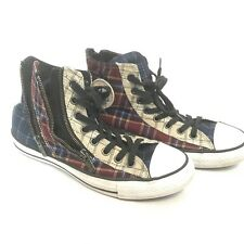 Womens Converse All Star size 10 Double Zipper Plaid Red Blue Chuck Tylor -Rare