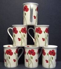 A SET OF SIX 6 RED STEM POPPY PANAMA FINE BONE CHINA MUGS CUPS BEAKERS TO CLEAR