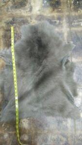 "Hair On Hide Baby Lamb Long Hair Gray 19"" x 22"" Inches. 3 oz"