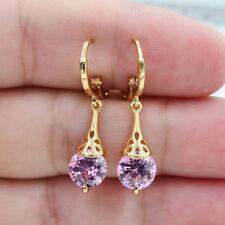 18K White Gold Filled Pink  Round Zricon Topaz Gemstone Women Earrings Jewelry