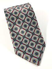 "Light Blue Geometric Neck Tie - Sz W 4"" L 55"" 100% Silk"