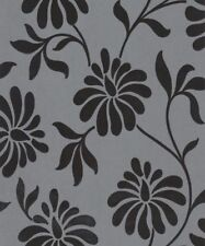 Graham Brown Charcoal Black Flower Flock Velvet Wallpaper (19908)
