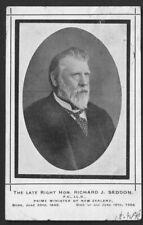NEW ZEALAND Postcard: Late Right Hon. RICHARD J. SEDDON, PRIME MINISTER. Posted.