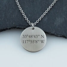 Coordinates Location Engraved Necklace -Stainless Steel- Round Anniversary Place