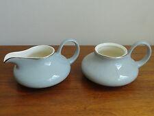 Mid Century Gray Creamer / Sugar Bowl Harker Pottery  SLENDER LEAF GRAY Platinum