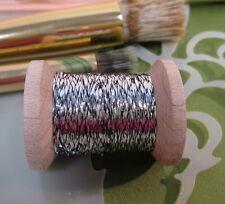 Vintage Silver w/ black Metallic Tinsel  Fly Tying  Weave Knit