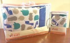 Giggle Baby 3pc Crib Bedding Set w/ Changing Pad (Jungle Soup ~ Blue) New!