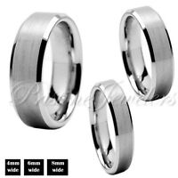 Tungsten Carbide Silver Wedding Band Mens Women Brushed Comfort Fit Ring 6mm 8mm