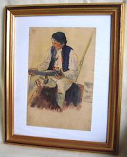 Gemälde, Aquarell, Mann mit Pfeife, signiert, um 1915