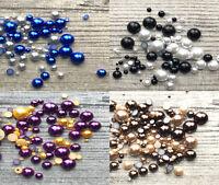 Mixed Flat Back Pearls Rhinestones Embellishments Face Gems Craft Card Making UK