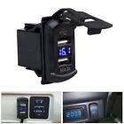 Car Dash Flush Mount Usb Port Charger Adapter Panel 4.2a W Blue Led Voltmeter