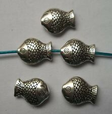 30pcs Tibetan silver fish charms spacer bead 13.5x10x4  mm