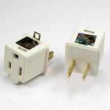 Lot of Two 3 Prong Plug to 2 Prong Outlet Electrical Grounding Adapter UL Listed
