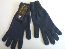 Scottish 100% 4 ply cashmere knitted warm soft finger gloves Mens Mid Blue