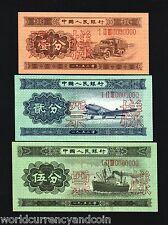 CHINA 1 2 5 FEN P860 861 862 1953 *SPECIMEN* UNC PLANE SHIP TRUCK RARE CURRENCY