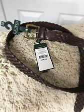 Mens Ralph Lauren Brown 100% Leather Belt 38In/95cm Braided New Tag £75 RRP