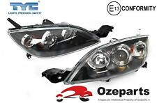 Set / Pair LH+RH Head Light Lamp Black For Mazda 3 BK 2003~2009 5 Door HATCH