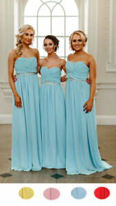 Sale Chiffon Long Pastel Sequins Dress Bridesmaid Evening Maxi Gown Party Prom