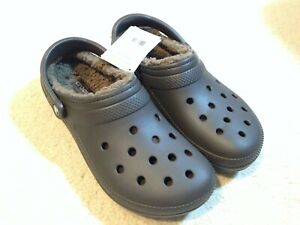 NWT Crocs Lined Clogs Dual Comfort - Blue/Brown Fur-Lined Men's Sizes 9 10 13
