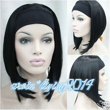 Ladies Short BOB 3/4 wig with headband Black Brown Blonde straight cosplay wigs